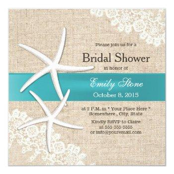 blue starfish lace & burlap bridal shower invitation