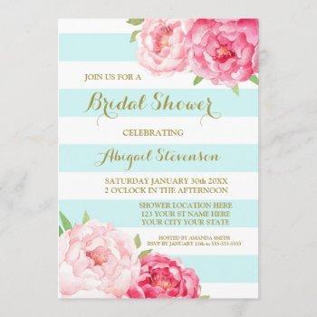 blue stripes pink watercolor flowers bridal shower invitation
