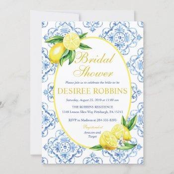 blue tile italian floral lemon bridal shower invitation