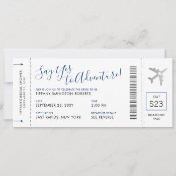 blue travel theme bridal shower boarding pass invitation