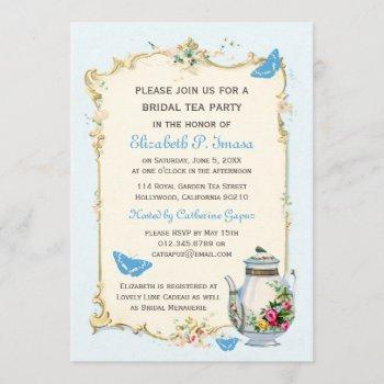 blue vintage french bridal tea party invitation