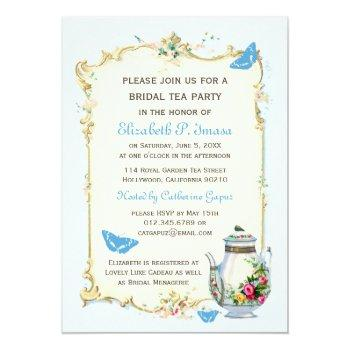 blue vintage french bridal tea party invitation