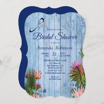 blue water pebbles & pink flamingos bridal shower invitation