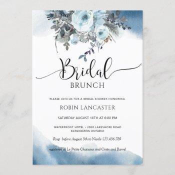 blue watercolor, blue floral bridal brunch/shower invitation