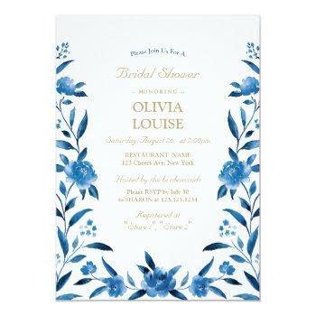 blue watercolor floral chinoiserie bridal shower invitation