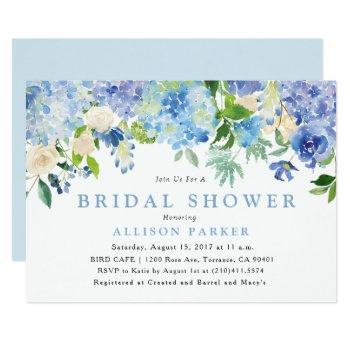 blue watercolor flowers bridal shower invitation