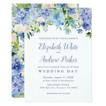 blue watercolor hydrangea floral wedding card