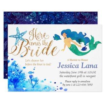 blue watercolor undersea sweet mermaid golden text invitation