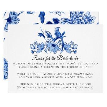 blue white chinese bird floral recipe enclosure invitation