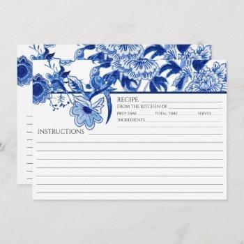 blue white chinoiserie bird bridal recipe card