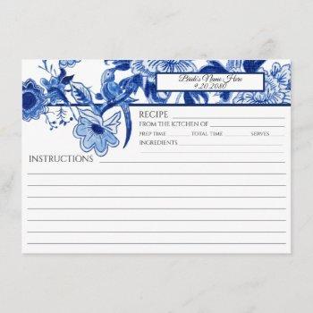 blue white chinoiserie foliage bird bridal recipe invitation