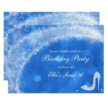 blue & white cinderella sparkle high heel party invitation