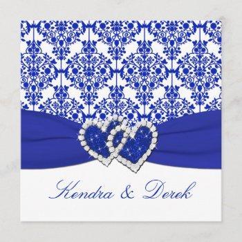 blue, white damask couples shower invitation