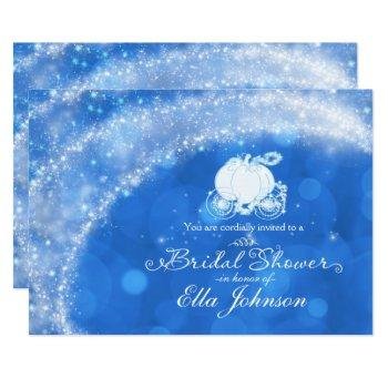 blue & white elegant glam carriage storybook invitation