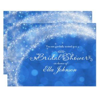 blue & white sparkle cinderella bridal shower invitation
