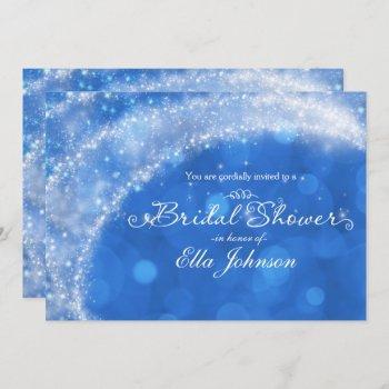 blue & white sparkle cinderella bridal shower invitation