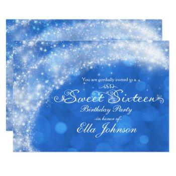 blue & white sparkle cinderella sweet 16 party invitation