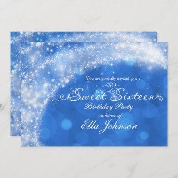 blue & white sparkle cinderella sweet 16 party invitation