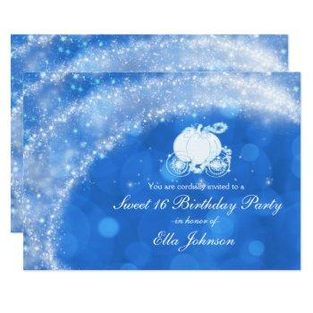 blue & white sparkle elegant bridal shower party invitation
