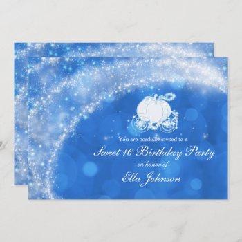 blue & white sparkle elegant bridal shower party invitation