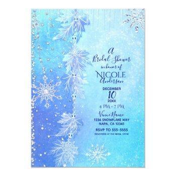 blue winter leaves & snowflakes bridal shower invitation