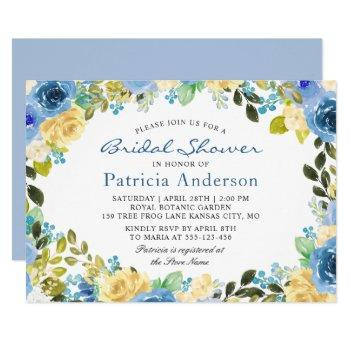 blue yellow floral botanical garden bridal shower invitation