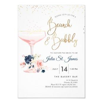 blush+blue flowers brunch bubbly pink champagne invitation
