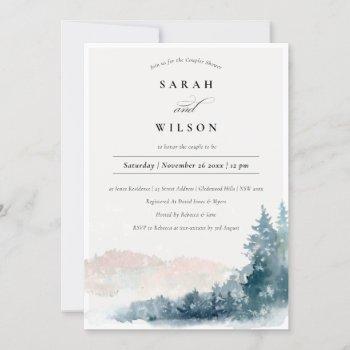 blush blue pine mountains couples shower invite