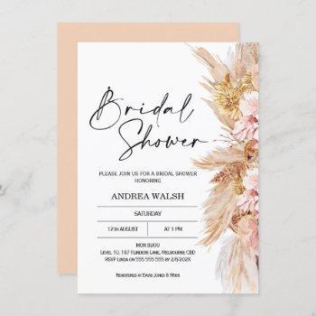 blush boho pampas grass bridal shower invitation
