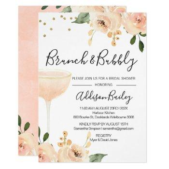 blush brunch champagne bridal shower invitation