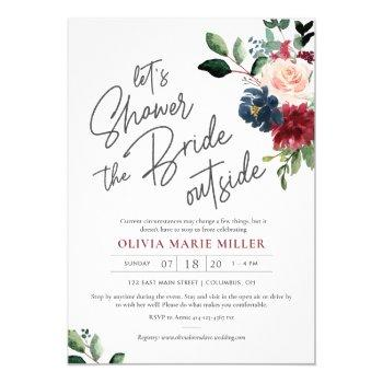 blush burgundy and navy drive by bridal shower invitation