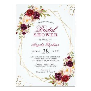 Blush Burgundy Floral Gold Frame Bridal Shower Invitation Front View