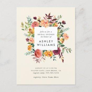 blush & burgundy marsala floral bridal shower invitation postcard