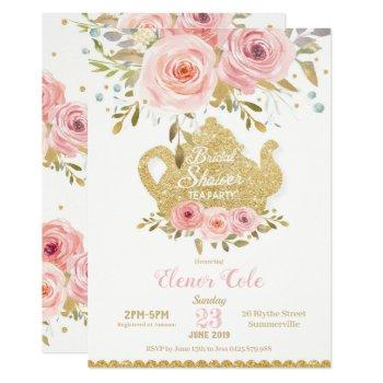 blush floral bridal shower tea party invitation