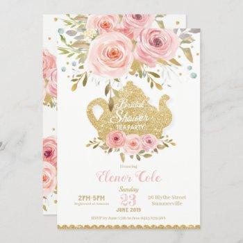 blush floral bridal shower tea party invitation