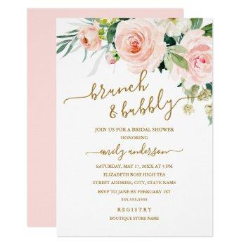 blush floral brunch and bubbly bridal shower invitation