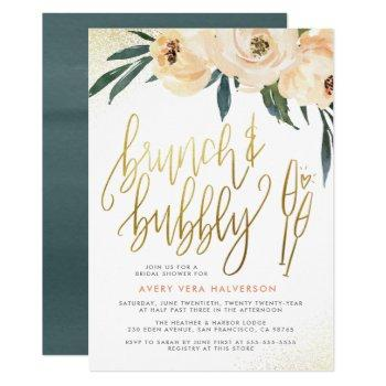 blush floral brunch & bubbly bridal shower invitation