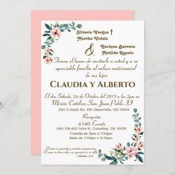 blush florals wedding invitation