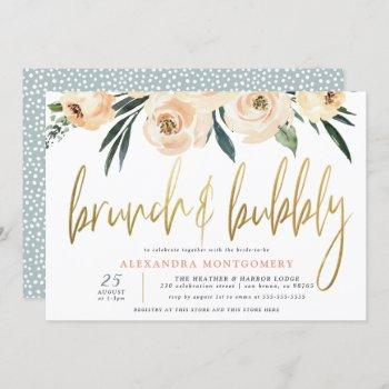 blush flowers gold brunch & bubbly bridal shower invitation