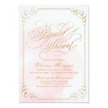 blush gold elegant calligraphy bridal shower invitation