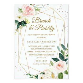 Small Blush Gold Floral Brunch And Bubbly Bridal Shower Invitation Front View