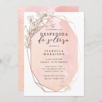 blush gold geometric floral spanish bridal shower invitation