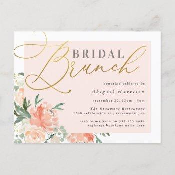 blush & gold script floral bridal brunch invitation postcard