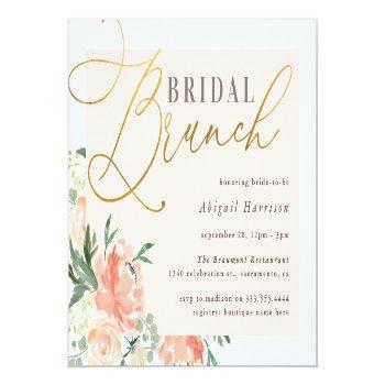 Blush & Gold Script Floral Bridal Brunch Invitation Postcard Front View