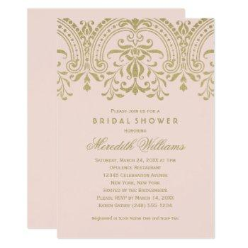 blush gold vintage glamour wedding bridal shower invitation