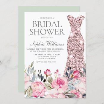 blush & greenery wedding dress gown bridal shower invitation