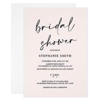 blush minimalist bridal shower invitation