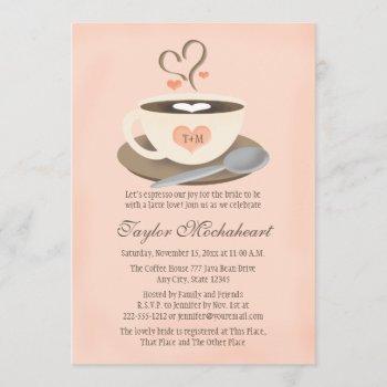 blush monogrammed heart coffee cup bridal shower invitation