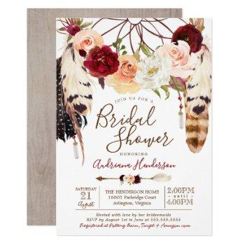 blush & peach rose dreamcatcher boho bridal shower invitation