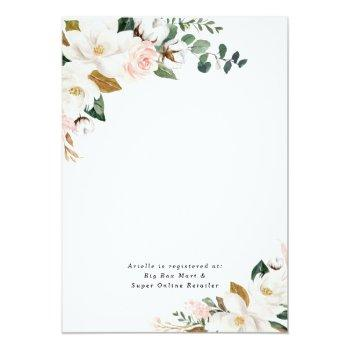 Blush Pink And White Magnolia Floral Bridal Shower Invitation Front View